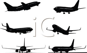 Silhouette Collection of Airplanes in Flight