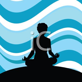 silhouette of a woman in lotus position with a wavy blue