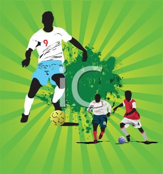 Black Soccer Players on a Green Abstract Background