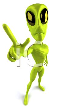 3D Alien Giving the Peace Sign