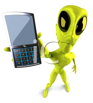 3D Alien Holding Out a Cell Phone