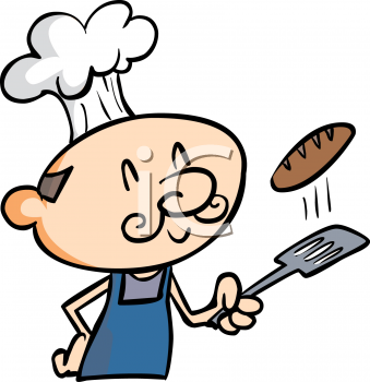 Cartoon of a Guy Flipping a Burger with a Spatula
