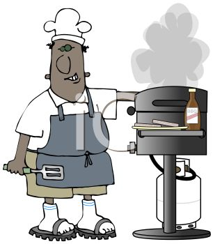 Cartoon of a Black Dad Grilling Burger