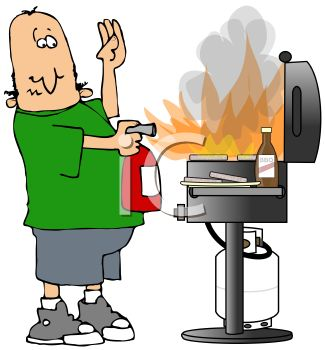 Cartoon of a Dad Putting a Grill Fire