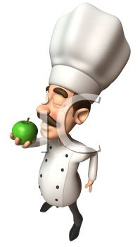 3D Chef with a Moustache Smelling a Green Apple