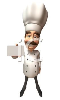 3D Chef with a Moustache Holding Out a Recipe Card