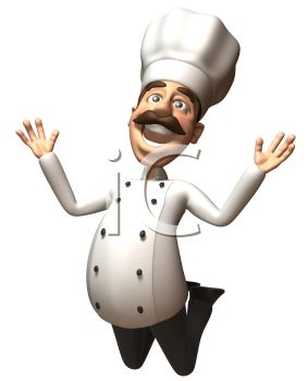 3D Chef with a Moustache Jumping For Joy