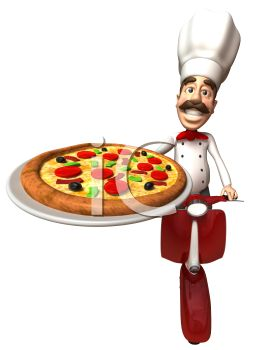 3D Chef with a Moustache Delivery a Pizza on a Scooter
