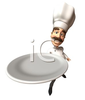 3D Chef with a Moustache Holding an Empty Plate