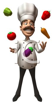 3D Chef with a Moustache Juggling Vegetables