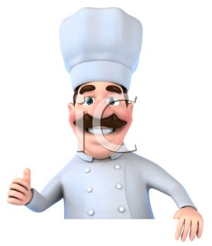 Chubby 3D Chef Holding a Blank Sign