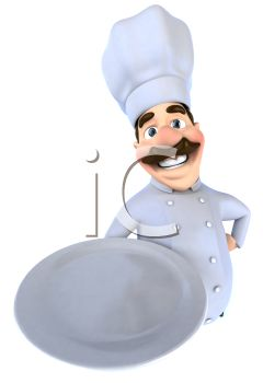 3D Chef with a Moustache Holding a Serving Platter
