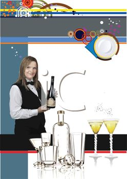 Bartender or Caterer on a Cocktail Menu Design