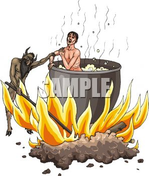 Cannibal Devil Cooking a Man in a Huge Pot