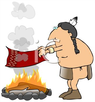 Cartoon of an American Indian Making Smoke Signals