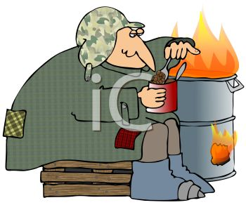 Transient Eating Beans Next to a Barrel Fire