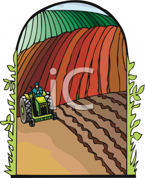 Cartoon of a Man on a Tractor Driving Through His Fields