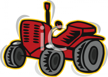 Cartoon of a Red Tractor