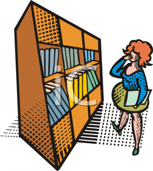 Woman Looking at a Shelf of Books in the Library