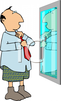Man Putting on a Tie in Front of the Mirror
