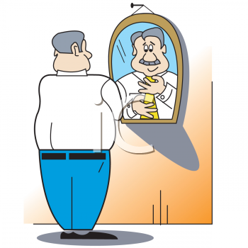 cartoon of a middle aged businessman tying his tie royalty free