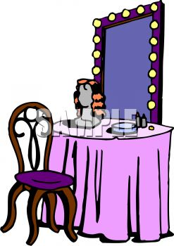 Dressing Table With A Lighted Mirror
