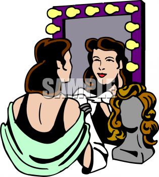 Actress Looking at Herself in the Mirror