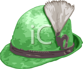 Cartoon of a Hat-German Style Felt Hat with a Feather