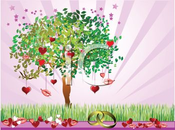 Tree of Love Growing on a Wedding Background with Hearts and Kisses
