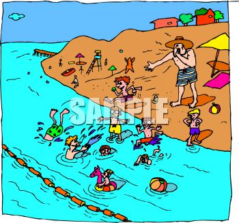 Royalty Free Clipart Image Lifeguard Yelling At Kids The Beach
