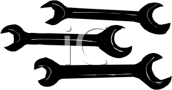 Set of Spanner Wrenches in Silhouette