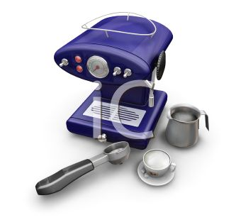 3D Espresso Maker with Scoop, Cup and Cream Pitcher