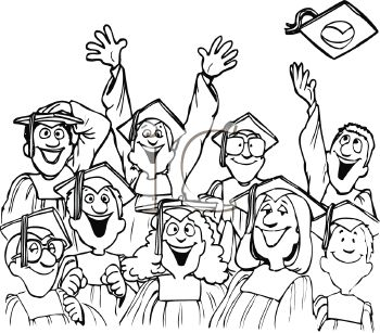Cartoon of a Graduating Class at Graduation Ceremony