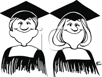 Graduation Cartoon of Twins in Cap and Gown