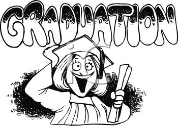 Graduation Cartoon of a Girl in Her Cap and Gown with Text