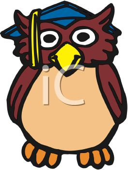 Graduation Cartoon of an Owl Symbol for Knowledge
