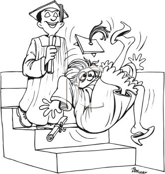 Graduation Cartoon of a Girl Tripping Down the Steps to the Stage
