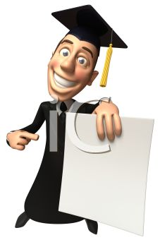 3D Guy Graduating Pointing at His Diploma