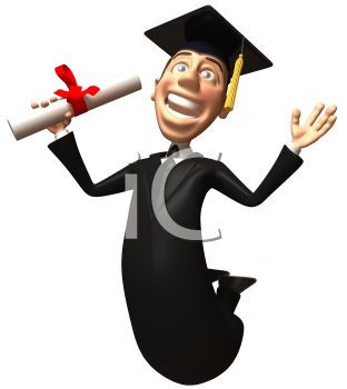3D Graduate Jumping for Joy