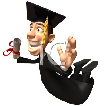 Happy 3D Graduate Holding His Diploma