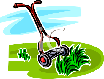 Manual Lawnmower Cutting Grass
