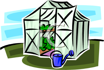 Cartoon of Plants Growing in a Small Greenhouse