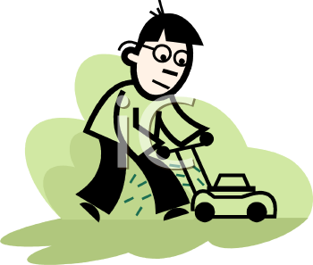Cartoon of a Guy Mowing a Lawn