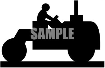 Silhouette of a Man Driving a Paving Machine