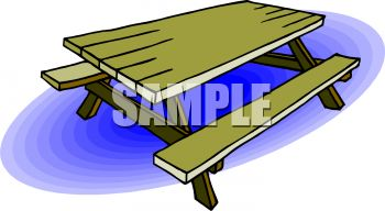 A Wooden Picnic Table - Royalty Free Clip Art Picture