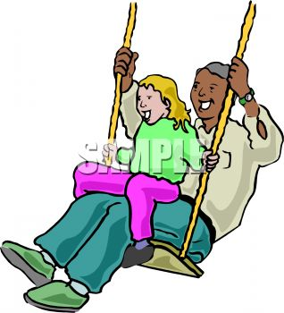 Little Girl and Her Dad on a Swing