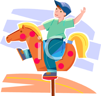 Boy Wearing a Cap Riding a Bouncy Horse at a Playground