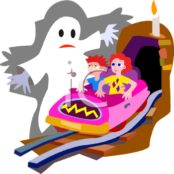 Kids on a Haunted House Ride at a Carnival - Royalty Free Clip Art ...