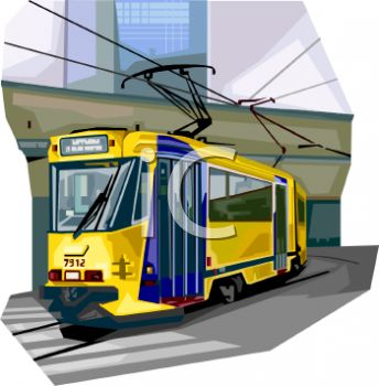 Realistic Style Electric Tram
