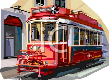 Realistic Style Streetcar or Trolley